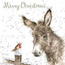 Wrendale Designs Christmas 8 cards & envelopes in gift wallet donkey & robin