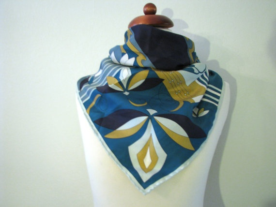 Vintage Water Lily Marja Kurki Design Silk Scarf in Blue and Yellow