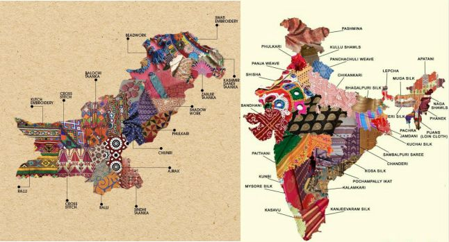 Artistic Maps of Pakistan & India Show the Embroidery Techniques of Their Different Regions |  Open Culture