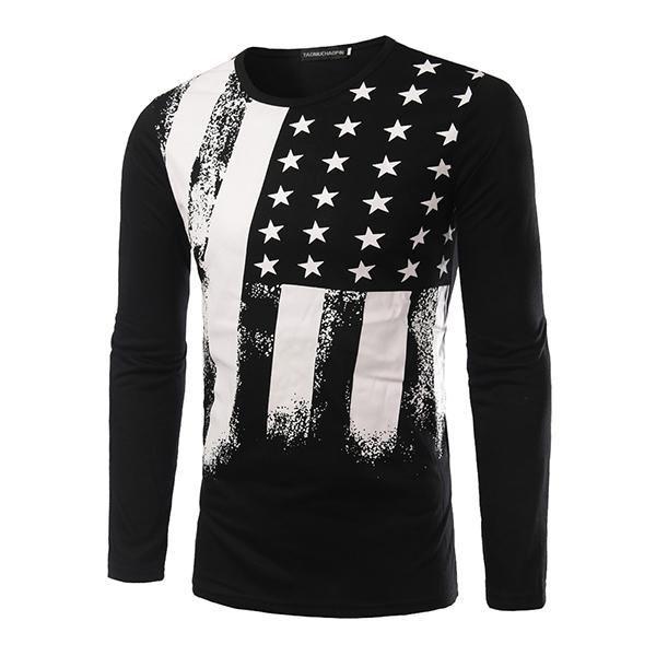 New Fashion T-Shirt Long Sleeve USA American Flag Printed Men