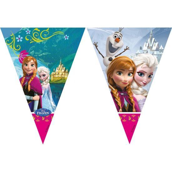 Frozen vlaggenlijn 2 meter. Deze feestelijke plastic vlaggenlijn met plaatjes van Frozen heeft een lengte van ongeveer 2 meter. Zeer geschikt voor Frozen kinderverjaardagen of themafeestjes.