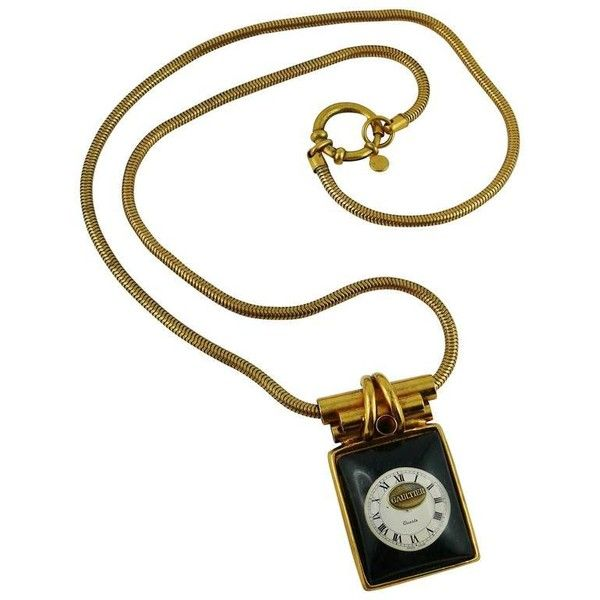 Preowned Jean Paul Gaultier Vintage Rare Collectable Steampunk Watch... ($754) ❤ liked on Polyvore featuring jewelry, necklaces, beige, pendant necklaces, clear crystal necklace, rectangular pendant, clear necklace, resin jewelry and pendant necklace