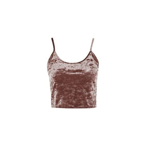 Topshop Tall Crushed Velvet Crop Camisole Top ($20) ❤ liked on Polyvore featuring tops, cropped, dusty pink, brown cami top, strappy cami top, cami top, cropped cami and topshop tops