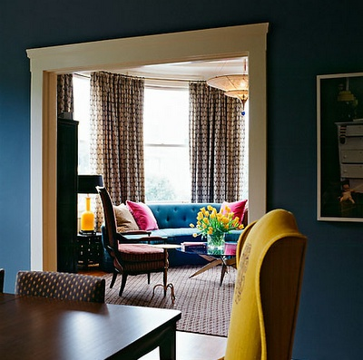 Office/family room - dark blue with yellow chair!! Got the chair - need the paint color!