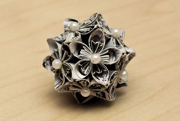 DIY Origami Kusudama de Flores de Cerejeira