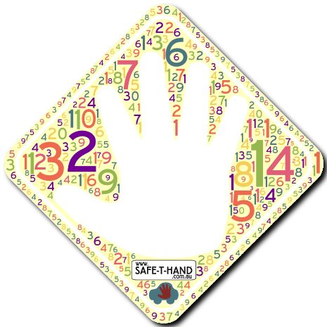 NUMBERS Safe-T-Hand Mini Car Magnet.  Safe-T-Hand Mini's are compactly sized at 12cm x 12cm. They fit into your pocket, handbag and glove box - GRAB & GO! They arrive in cardboard Travel Wallets (14cm x 12.5cm) for flat, clean storage when not in use (e.g. when washing the car). All instructions and a visual aid are printed inside. #teach #road #safety #safethandmini #educate #fun