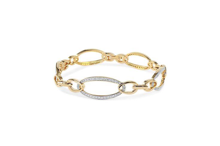 18 ct rose & white gold oval linked white diamond bracelet