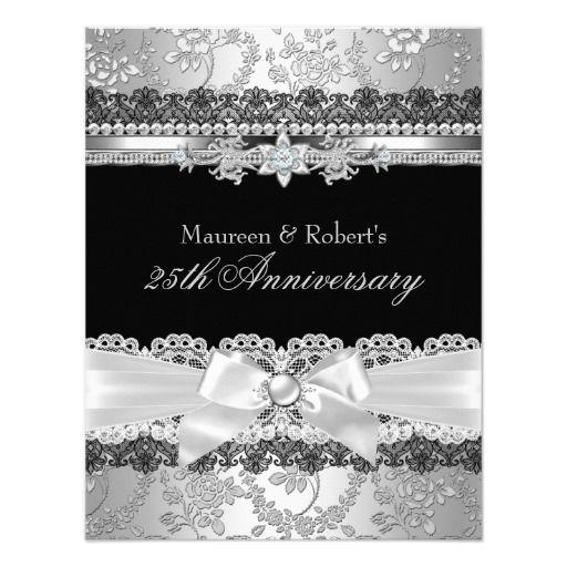 Black Lace & Silver Pearl Bow 25th Anniversary