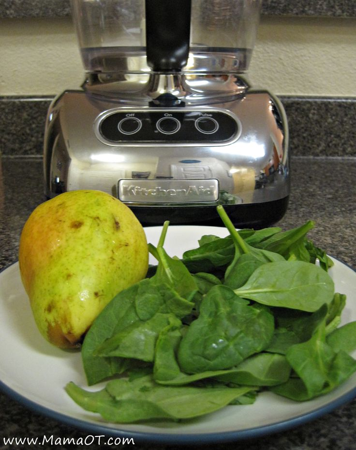 pear and spinach puree