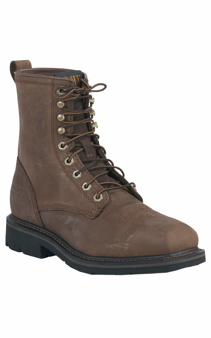 Ariat® Men's Alamo Brown Cascade Wide Square Steel Toe 8in Lace Up Work Boot