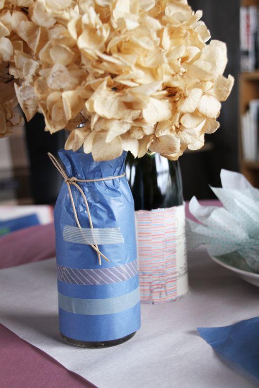 Un vase unique avec du masking tape
