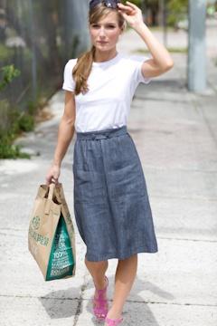 summer lovely=pinstripe two button denim skirt, white tee, and rose heels.