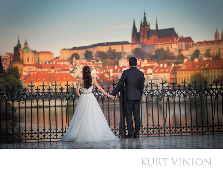 London wedding & Prague pre wedding photographer - elegant pre-wedding photos Prague: C&C chose Prague for their beautiful sunrise pre wedding portrait session.