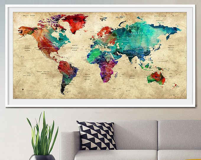 Push Pin viajes mundo, Push Pin viajes mapa, acuarela mundo mapa Print, Push pin mundo mapa, mapa de chincheta, arte de pared, poster de mapa mundo (L4)