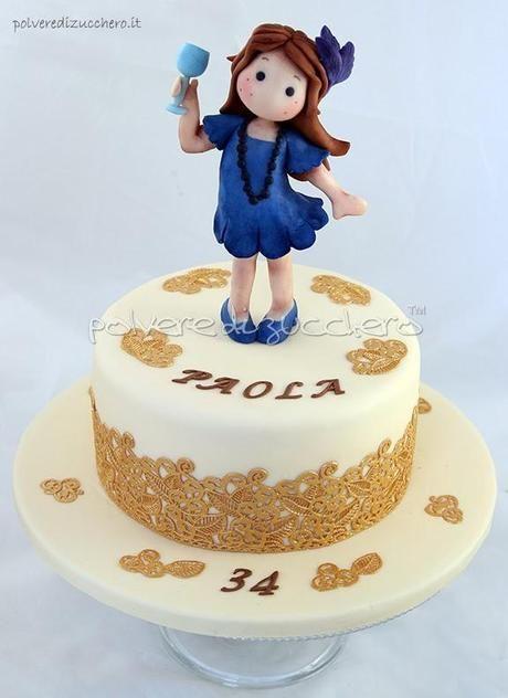 bambola di zucchero   Torta per il mio compleanno: una bambolina Tilda che brinda in pasta ...