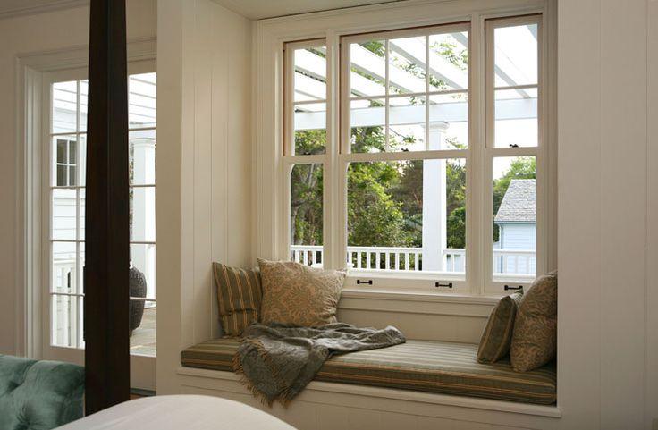 cosmiccowgirl: Giannetti Home - Window seat, gray silk cushion and silk pillows.
