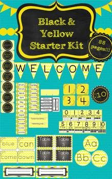 Enjoy this 88 page Black and Yellow starter kit to kick off a great year! My recommendation is that you print it on cardstock and laminate. It is a lot of printing so only print what you need!What's included in this zip file:*Alphabet Posters with corresponding animal picture*Pre Primer Sight Word Cards for Word Wall (editable template to add your own.)*Word wall letters*Leveled Library Letter Labels: (There are included with the Chevron Circles for your Word Wall)* Desk Tags/ Desk Name…