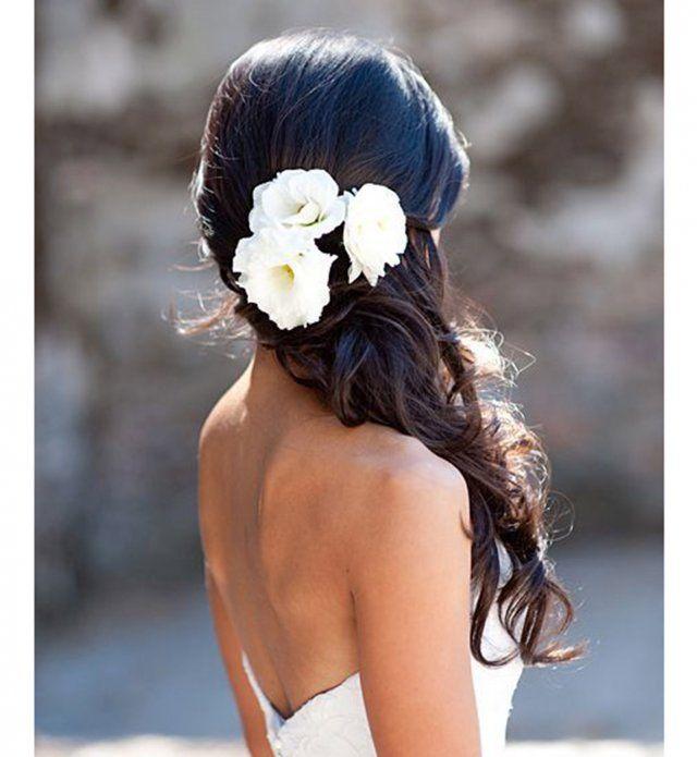 Idée coiffure de mariage : une demi-attache wavy