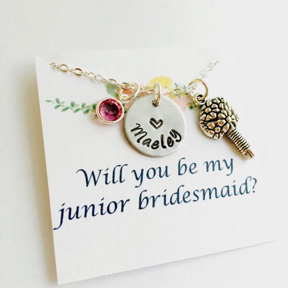 Junior Bridesmaid Necklace, Junior Bridesmaid Gift, Wedding Necklace ...