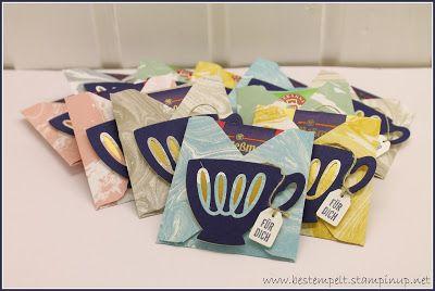 Stampin`Up! Envelope punchboard, Sale-A-Bration DSP, cups and kettle framelits