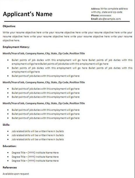 Basic Resume Templates Free Download  Templates For Resumes Free