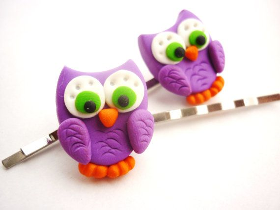 Owl shaped hair pins bobby pins colored Hair by JustFingerPrint, $7.00