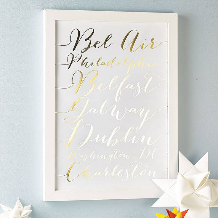 Gold foil on a white background - Personalised Foil Calligraphy Destinations Print