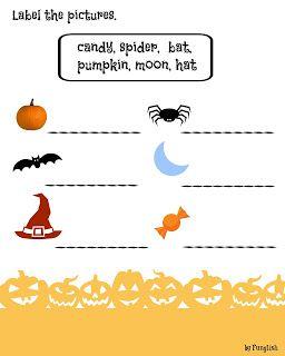 http://waytomasterenglish.blogspot.com/2015/10/garsc-pomysow-na-halloween.html  Halloween, worksheet, pumpkin , witch, exercise, kids, young learners