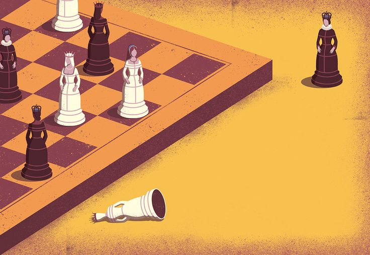 Davide Bonazzi - Game of Queens. The powerful women of the 16th century. Client: BBC History magazine. #conceptual #editorial #illustration #history #women #queens #chess