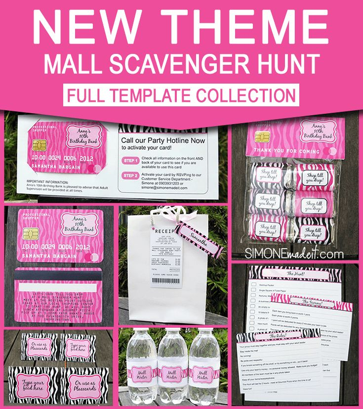 Instantly Download Mall Scavenger Hunt Invitations & Birthday Party decorations for your Tween/ Teen Mall Scavenger Hunt! Personalize the templates at home