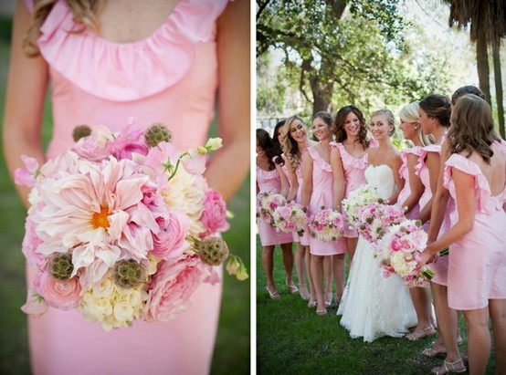 Sweet, Pink and Preppy bridesmaids