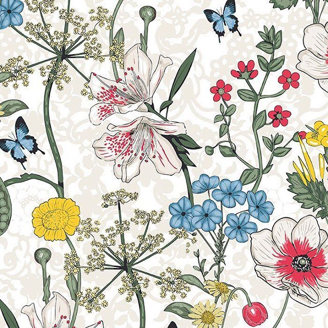 Living Garden 003 Botanical With Butterflies and Lace Background – another one of my designs now available exclusively to Patternbank #floral