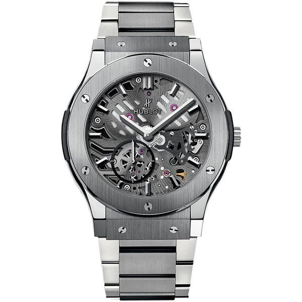 Hublot Classic Fusion Classico Ultra Thin 42mm 545.nx.0170.nx Watch (17,090 CAD) ❤ liked on Polyvore featuring men's fashion, men's jewelry, men's watches, titanium, mens titanium watches, hublot mens watches, mens diamond bezel watches and thin mens watches