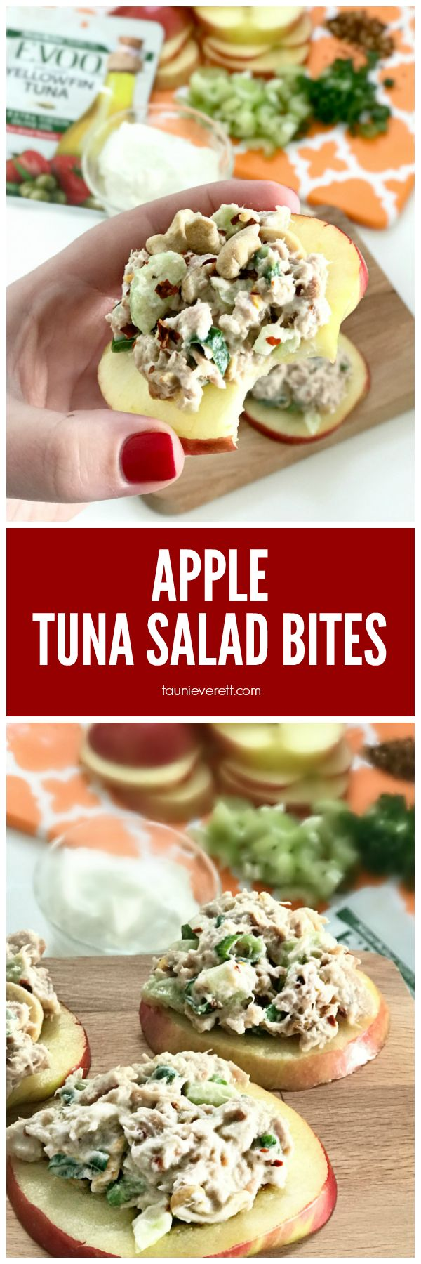 Healthy Apple Tuna Salad Bites. Yummy and ZERO Weight Watchers Points! #tuna #lunch #weightwatchers