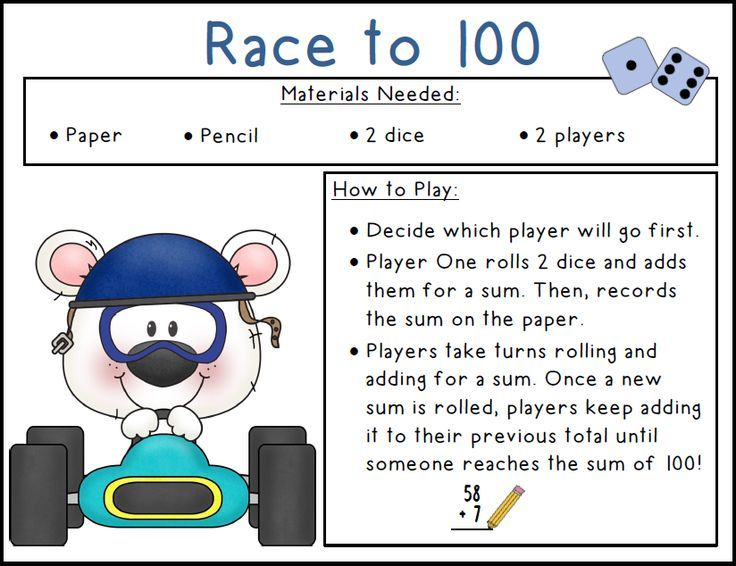 FREE Race to 100 Game. All you need are dice and a white board!