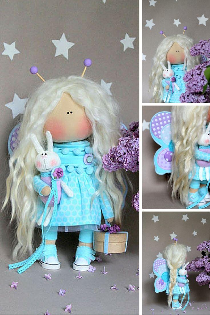 Bee doll handmade, aqua color doll, doll handmade, textile doll handmade, etsy doll