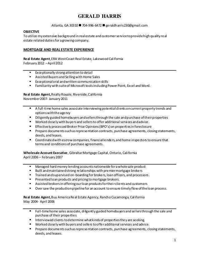 Real Estate Agent Job Description For Resume Cool 2014 Resume For Gerald Harris Of 33 Stunnin Real Estate Agent Job Flight Attendant Resume Resume