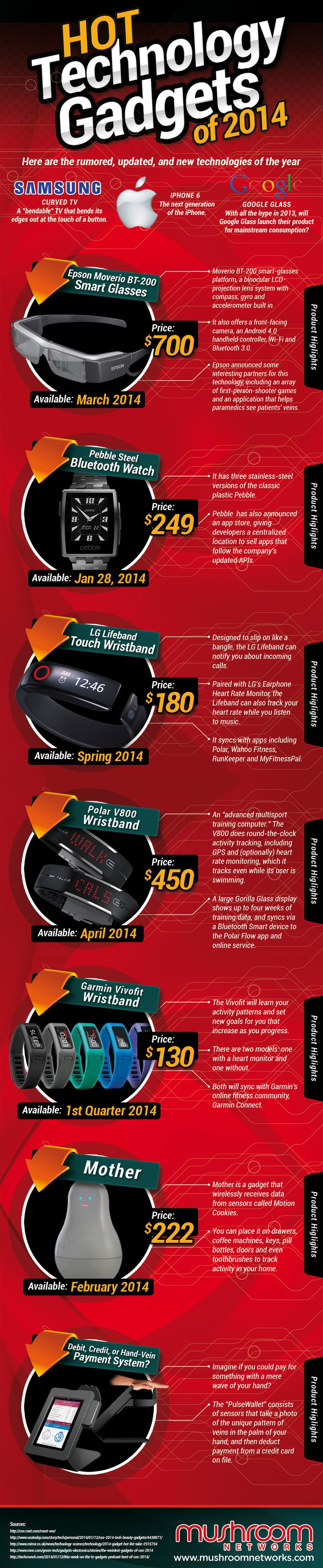 Hot Technology Gadgets of 2014   #Technology #Gadgets #infographic