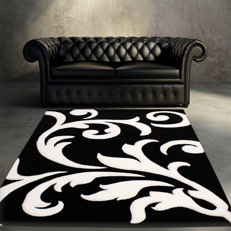Designer Teppich Festival mit Konturenschnitt Muster Schwarz Weiss Black White Wohn und Schlafbereich Designer Teppiche