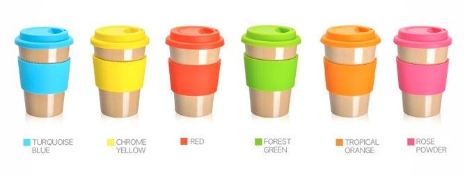 Eco friendly travel mug made from rice husk, an agricultural waste product. Biodegradeable and uses no harmful substances. The mug comes in 6 different colours please select from the drop down list the colour you require. Silicone top and hand protector.