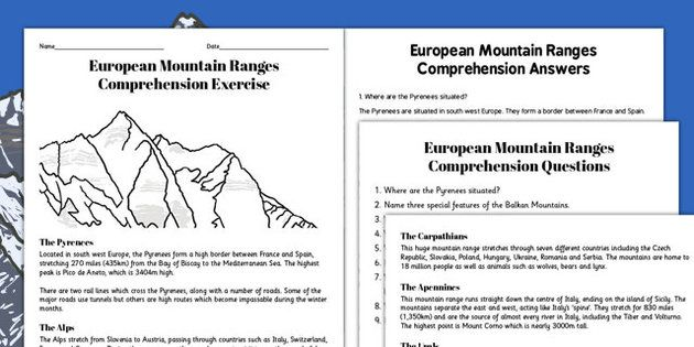 European Mountain Ranges Comprehension Worksheets