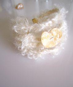 White Mohair Yarn Bracelet - Braided Bracelet - Peach Heart Shaped Seashell - Heart Jewelry by Michelebuttons on Etsy https://www.etsy.com/listing/105515039/white-mohair-yarn-bracelet-braided