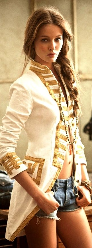 white and gold coat