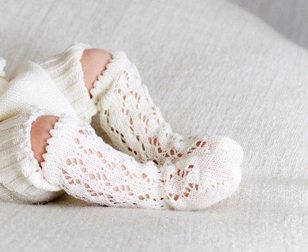 KNIT BABY SOCKS off white  ivory lace socks Baby by MarumaKids