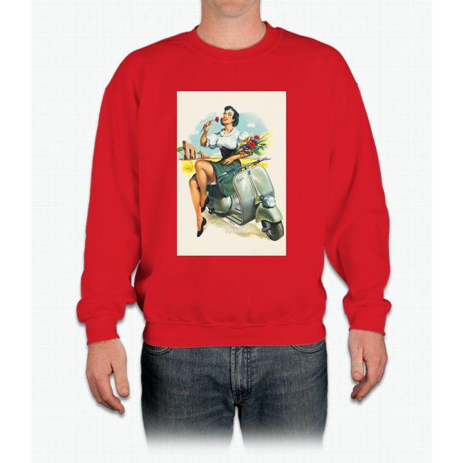 Girl, Flower & Scooter Vespa Crewneck Sweatshirt