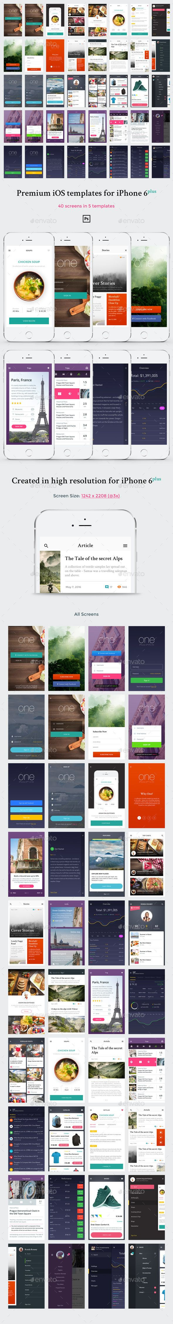 One - Premium Mobile UI Templates for Phone 6 Plus  #trip #ui #ui kit • Available here → http://graphicriver.net/item/one-premium-mobile-ui-templates-for-phone-6-plus/15510156?s_rank=348&ref=pxcr