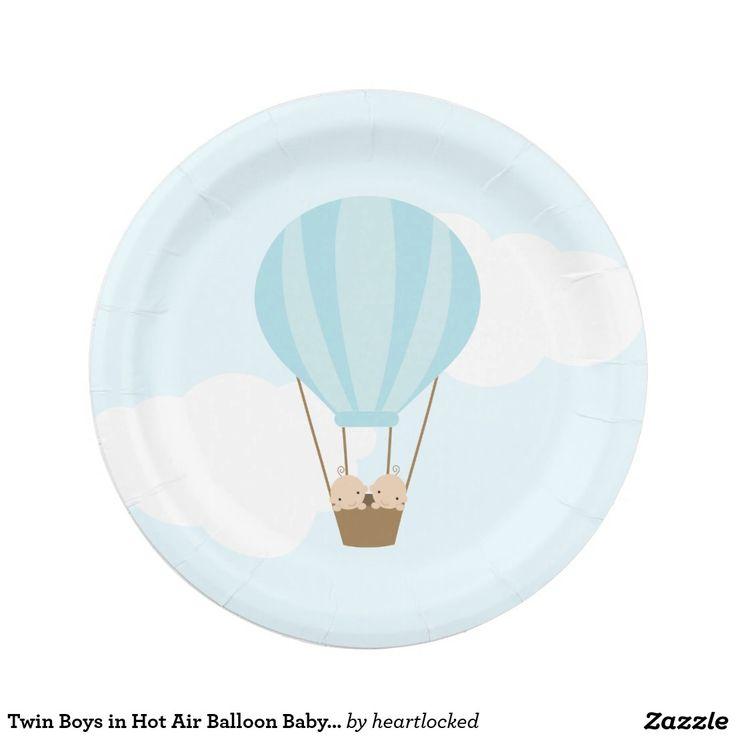 Tweeling Jongens in het Baby shower van de Ballon Papieren Bordjes
