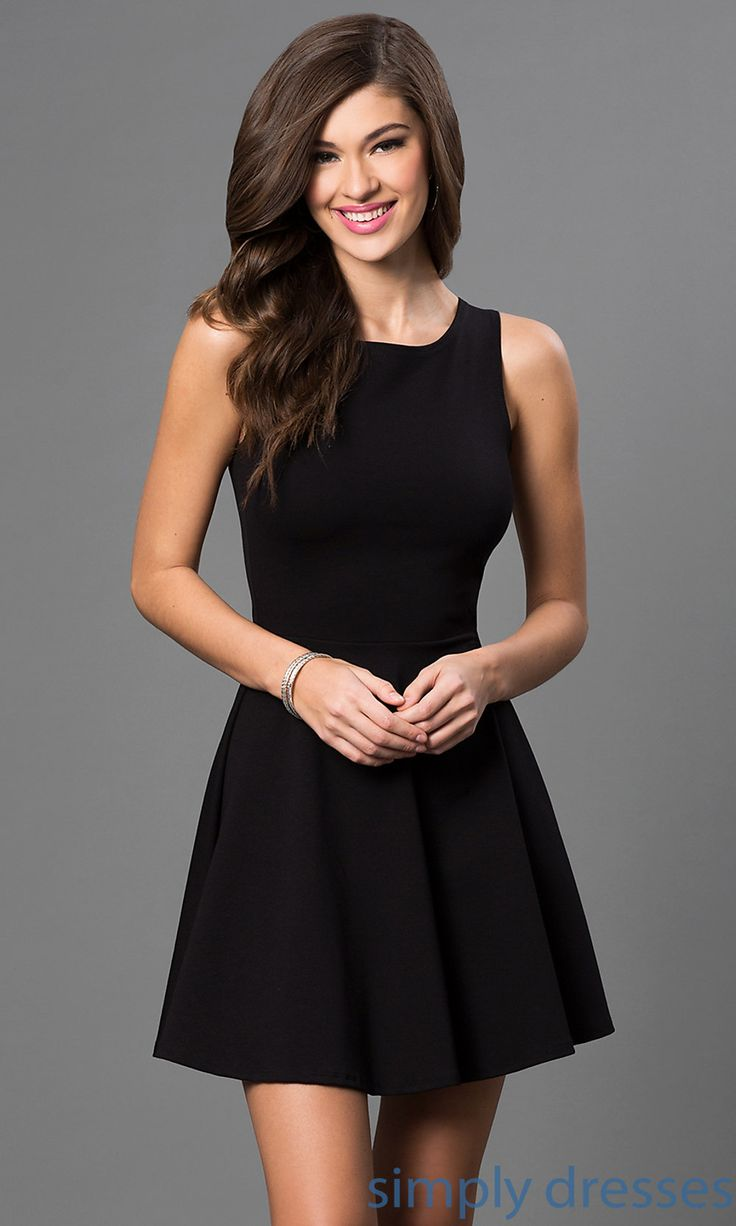 Short little black party dress with back cut outs - Ch 2420 Short Sleeveless Little Black Dress
