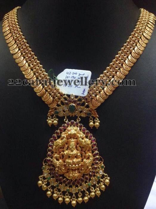 Jewellery Designs: 101 Grams Antique Kasu Haram