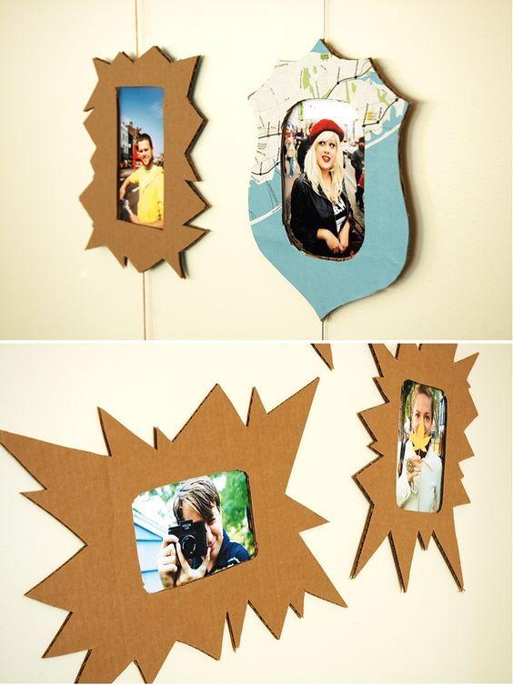 manualidades de carton para decorar marcos de fotos